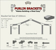 Aussie Barn Shed 8inch C Section Purlin Bracket Set-Garage-Farm-Steel Plate