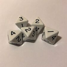 8 Sided Dice (D8) 1-4 Twice - Pack of 5 White Dice - UK Seller (D152)