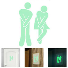 1 Pcs Toilet Luminous Door Wall Sticker Fluorescent Creative Door Decoration