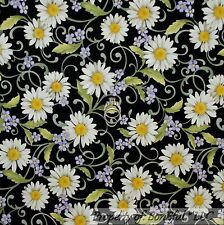 BonEful Fabric FQ Cotton Quilt Black White Purple Yellow VTG Flower Calico Daisy