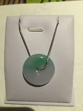 Chinese Style Gift Vintage Green Burma Jade Necklace Sterling Silver (JP56)