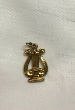 Vintage 14k yellow gold Harp charm, 0.9 grams