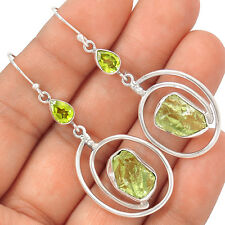 Green Amethyst Rough & Peridot 925 Silver Earrings EE23385