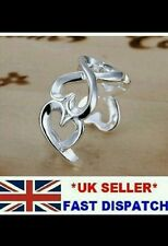 UK stamped 925 Silver wide Ring ADJUSTABLE Wrap friend WEDDING anniversary GIFT