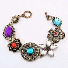 New Fashion Jewelry Multi-Color Crystal Gemstone Flower Bangle Bracelet Vintage