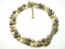 """HEIDI DAUS  """"A Touch of Class"""" 2-Row Faux Pearls & Crystal Station  Necklace"""
