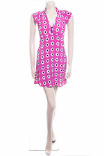 New Ladies Carbon Size 8 Purple Spot Floaty Summer Dress Bold Print