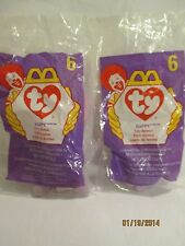 1998 McDonald's Happy Meal Ty Happy the Hippo Lot of TWO