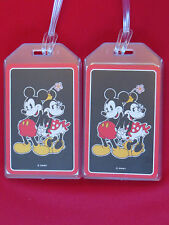 MICKEY MOUSE w/ MINNIE DISNEY LUGGAGE TAGS - SET OF 2 - BAGGAGE NAME ID TRAVEL
