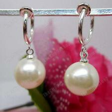 COMFY CLIP ON cream ivory BIG 12mm PEARL DROP EARRINGS silver tone hoop clips
