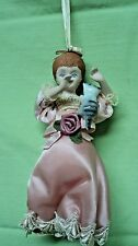 Victorian Girl doll w/kitten on shoulder ornament - Sweet & SUPER ADORABLE!