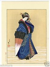 HOKUSAI JAPANESE Woodblock Print - Beauty with Umbrella in the Snow