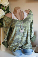 D&F 2TLG SHIRT TOP CAMOURFLAGE ARMY MILITARY STIL LUREX KANTEN GRÜN 36 38 40