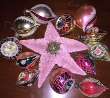 Vintage Poland *PRETTY PINK* Glass Christmas Ornaments Concave!! 12+ Star
