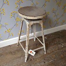 Café style adjustable Stool metal/wood shabby chic Antique White colour