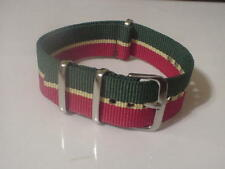 Green/Yellow/Red Military 20mm strap  4 TIMEX Weekender & ZULU Time Watch