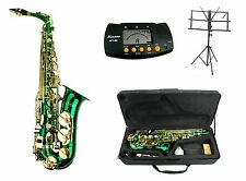 NEW Merano E Flat Green/Gold Alto Saxophone,Case+Metro Tuner+Music Stand+11Reeds