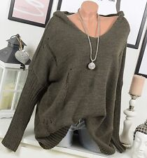 Tricot pull oversize pull DETERIORE vintage 44 46 48 50 capuche marron taupe