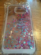 SAMSUNG 6 Clear Pink Glitter With Blue And Dark Pink Hearts Case New