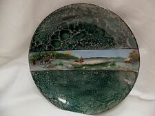 """Beautiful! Mage in Germany 9.25"""" Green Marbled Plate with Elk Landscape"""