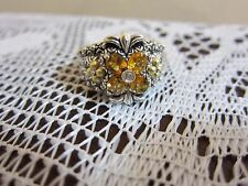 BARBARA BIXBY FLOWER CITRINE TOPAZ RING STERLING 18K GOLD JEZZABEL  QVC 10 NEW