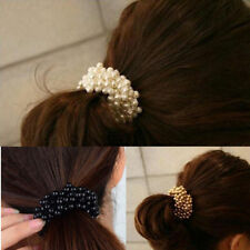 Black 1xPearl Bead Hair Band Elastic Rope Scrunchie Ponytail Holder Accessories