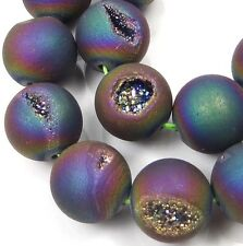 12mm Druzy Agate Matte Peacock Rainbow Round Beads (12 pcs)