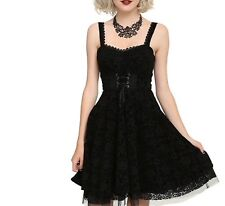 NWT DISNEY NIGHTMARE BEFORE CHRISTMAS DRESS BLACK FLOCKED FILIGREE PRINT XL
