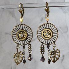 Ohrschmuck *steampunk Zahnrad Messing Bronze Ohrringe *gear Uhrenteile Glasperle