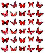 30 x Red Butterflies Cupcake Toppers Edible Wafer Paper Fairy Cake Toppers