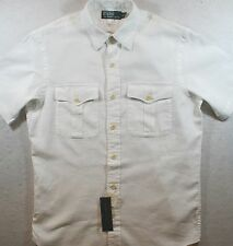 NWT $90 Polo Ralph Lauren SIZE SMALL S Chest Pockets Linen Cotton Shirt