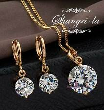 18K 18CT GOLD GF Womens SOLITAIRE Wedding NECKLACE SET SWAROVSKI DIAMOND EX903