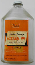 Vintage REXALL MINERAL OIL Bottle - Empty 1-Qt. Size - Great Display Item
