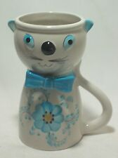 FTD Cat Vase Rare Vintage White with Blue Bow & Flower Print Circa 1979 Ceramic