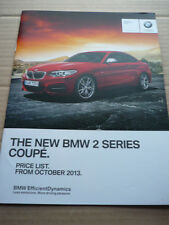 BMW 2 SERIES COUPE PRICE LIST CAR  BROCHURE OCTOBER  2013