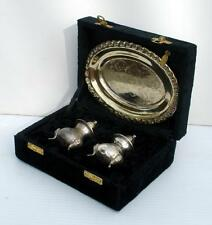 Vintage INTERNATIONAL SILVER Silver Plate Salt & Pepper with Tray