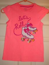 "GYMBOREE~girl~EMBROIDERED/LETS/ROLL/PEACH/ROLLER/SKATING/TOP!(8)""euc"" Free/Ship!"