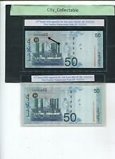 B085 # MALAYSIA $50 ZETI REPLACEMENT NOTE ZB 3332222 & 233 NICE NOS. * UNC