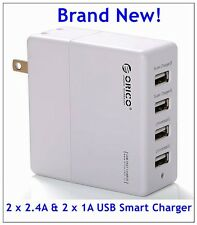 ORICO 4-Port USB Wall Charger with 2 x 5V 2.4A Super Charger & 2 x 1A Universal