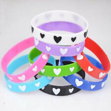 5X Unisex Fashion Love Heart Silicone Bracelet Wristband Party Random Crafts Hot