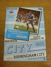 10/11/1984 Manchester City v Birmingham City  (team changes). Thanks for viewing