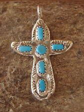 Zuni Indian Sterling Silver Turquoise Cross Pendant by C. Iule! Hand Stamped!
