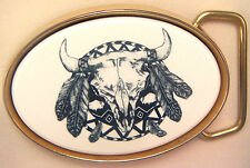 Belt Buckle Barlow Scrimshaw Carved Painted Indian Shield Traditional 590419 NEW