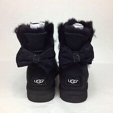 UGG AUSTRALIA MINI BAILEY ANTOINETTE BOW SWAROVSKI CRYSTAL BLACK  BOOT SIZE 6 US