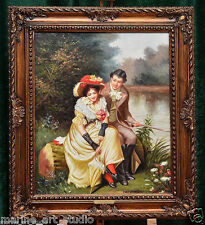 """AMAZING """"LOVE MEETING"""" MUSEUM QUALITY OIL PAINTING WITH THE STRETCHER FRAME"""