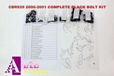 Complete Black Fairing Bolt Kit body screws for Honda CBR929RR 2000-2001