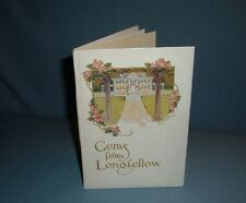 ANTIQUE POEMS POETRY GEMS FROM LONGFELLOW BOOK W / CHROMOLITHOGRAPH FLOWERS