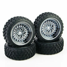 4X Rubber Tires Wheel Rim For HSP HPI RC 1:10 Rally Racing Off Road Car 12mm Hex