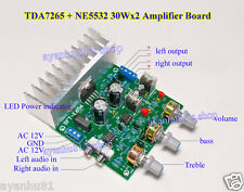 HIFI 30W*2 TDA7265 + NE5532 Stereo Audio Power Amplifier Board Treble / Bass Amp