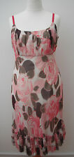 Coast empire line silk chiffon dress~Pink rose print~New with tags~18~rrp £160